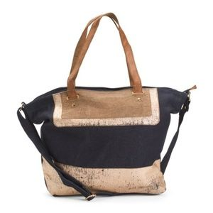 NWT Mona B Upcycled Tote With  Leather Details